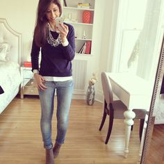 White button down, colored sweater, jeans or slacks and stand out flats or boys in winter months