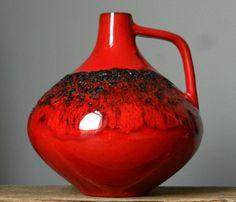 Vintage 60 70' Kreutz 203 Fat Lava Red Vase West German Pottery