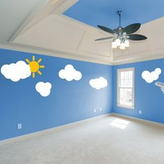 Sun And Cloud Wall stickers wall Decal Removable Vinyl Wall Nursery Mural kids Kids Wall Murals, Murals For Kids, Wall Stickers, Wall Decals, Cheap Stickers, Cool Girl Rooms, Church Nursery Decor, Sunday School Decorations, Sunday School Rooms