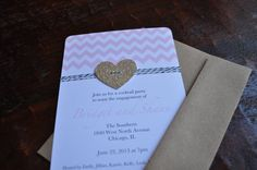 Pink Chevron glitter heart and bakers twine by PenelopeandLala