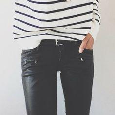 fashion, style, lawn party, outfit, black white, black jeans, leather pants, black pants, stripe