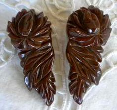 Lovely Pair of Brown Carved Bakelite Rose by etherealtreasures on etsy.................PERFECT BARRETTES PEOPLE:)