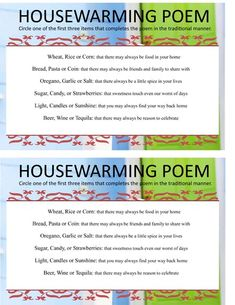 Housewarming Poem Game Sheet needed to the housewarming game. Housewarming Invitation Wording, Housewarming Party Invitations, Free Birthday Invitations, Housewarming Gifts, Free Christmas Invitation Templates, New Years Eve Invitations, House Warming, Poems, Funny