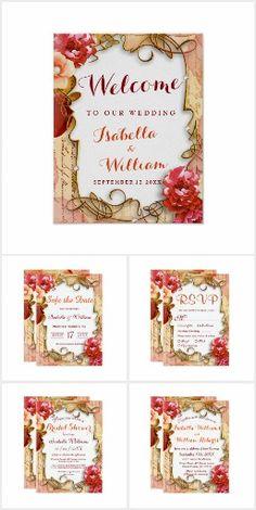 Wedding Set: Watercolor Peonies Summer Wedding