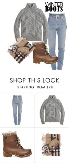 """""""Stylish and cute"""" by emija-keire ❤ liked on Polyvore featuring Vetements, J.Crew, Steve Madden, Burberry and winterboots"""