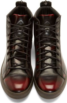 Diesel Black & Red Diamond High-Top Sneakers