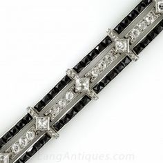 Platinum and Onyx Art Deco Bracelet with French-Cut Diamonds