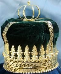 Imperial State Mens King Rhinestone Gold and Emerald Green  Crown