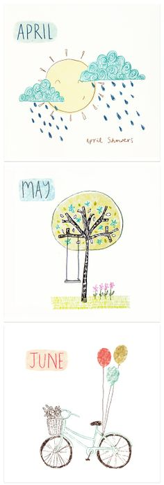 Cute. Make your own calendar with pictures that your child has drawn