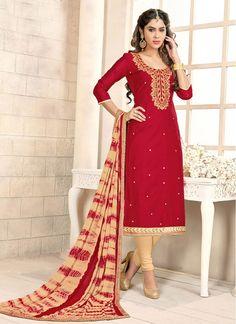 Cream and Maroon Chanderi Cotton Lace Churidar Designer Suit