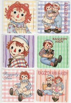 Raggedy Ann & Andy Stickers - 6 Designs . $3.00