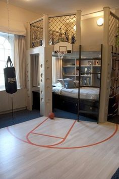 This room could work into the high school age for a boy, right? 40 Cool Boys Room Ideas - Style Estate - << just boys? I'd take that room in a heart beat! Dream Rooms, Dream Bedroom, Cool Boys Room, Nice Boys, Boys Room Ideas, Tomboy Room Ideas, Room Kids, Cool Beds For Boys, Boys Bedroom Ideas 8 Year Old