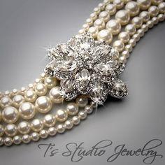 Multi Strand Pearl Bridal Cuff Bracelet with by TzStudioJewelry