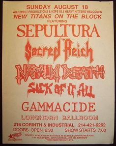 Gig posters, flyers and handbills from around the world! Recital, Master Of Reality, Proto Punk, Napalm Death, Concert Flyer, Metal Albums, Tour Posters, Posters, Music Posters