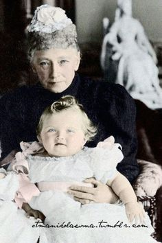 G.D. Olga Nicolaevna with her paternal grandmother, Queen Louise of Hesse-Kassel of Denmark, mother of Princess Maria Dagmar who married Tsar Alexander III, and was the mother of Tsar Nicholas ll | Tumblr