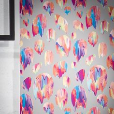 An abstract Scandinavian designer wallpaper, with vibrant oil paints laid over plain backgrounds. Adds a bold splash to any room. Designer Wallpaper Brands, Wallpaper Crafts, Plains Background, Paint Effects, Scandinavian Design, Love Art, Print Patterns, Abstract, Artist