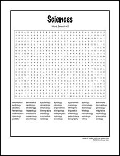 Hard Science Word Search Printable
