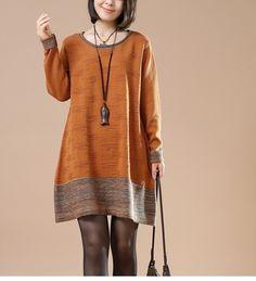 Orange  Long sleeve Round Neck Sweater