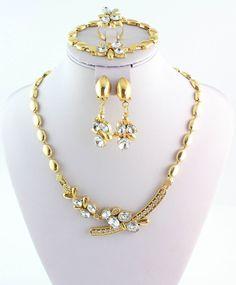 2015 New Design Jewelry Set Gold Plated Women Wedding Party Crystal Jewelry Set #Handmade