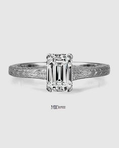 Emerald Diamond Solitaire Wheat Engraved Engagement Ring in 14K White Gold