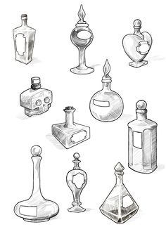 perfect little samples & ideas for my alice in wonderland tattoo! Potion bottles by Maieth on deviantART (Bottle Tattoo) Wicca, Drawing Sketches, Art Drawings, Basic Drawing, Drawing Art, Tattoo Drawings, Sketching, Kritzelei Tattoo, Tattoo Flash