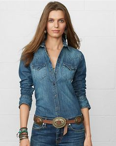 Ralph Lauren offers luxury and designer men's and women's clothing, kids' clothing, and baby clothes. Free Fast Shipping on All Orders. Cowgirl Shirts, Western Shirts, Chambray, Long Sleeve Tops, Long Sleeve Shirts, Peach Shirt, Ralph Lauren Slim Fit, Fall Capsule Wardrobe, Clothing Sites