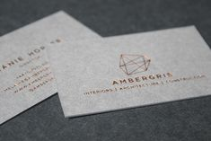Ambergris Letterpress Business Cards, Custom Business Cards, Letterpress Printing, Service Design, Place Card Holders, Cards Against Humanity, House Design, Prints, Embossed Business Cards