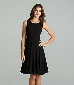 I like this one! Maybe with some purple jewelry. You can't really wear a scarf with a sleeveless dress, right.    Calvin Klein Sleeveless Luxe Dress #Dillards