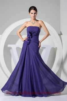 Good Quality Flower Trimmed Purple Evening Gowns