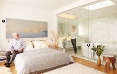 The Suite Hereafter: four of the most impressive master bedrooms in Toronto Toronto Life, Glass Bathroom, New Homes, Master Bedrooms, Goat, Stool, House, Organic, Furniture