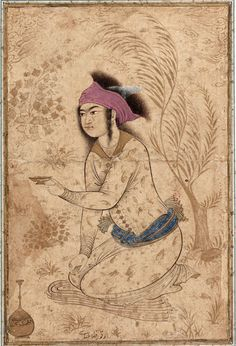 Youth kneeling and holding out a wine-cup - Reza Abbasi - Wikipedia, the free encyclopedia