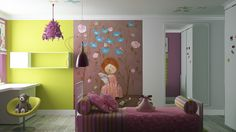 Colorful girls room wall mural