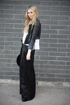 Maxi. Black. Dress. White. Blouse. Leather. Jacket. Skirt.