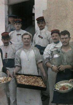 Autochrome: Gervais Courtellemont. An informal group portrait of soldiers of the Foreign Legion.Algeria.