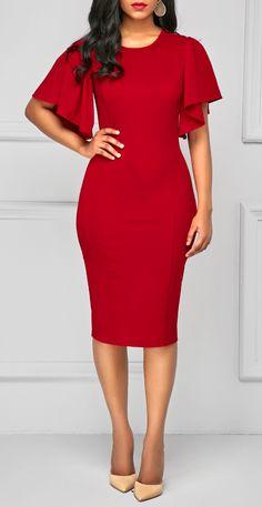 Back Slit Round Neck Red Skinny Dress