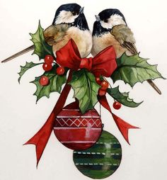 CHRISTMAS CHICKADEES CLIP ART