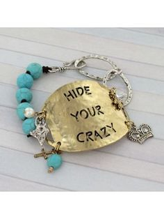 Two-Tone 'Hide Your Crazy' Turquoise Bead & Chain Hook Bracelet