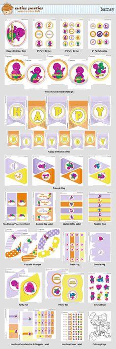 Cuties Parties: Barney Printable Birthday Party Kit