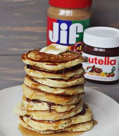Perfect Banana pancakes layered w/ Peanut Butter and Nutella