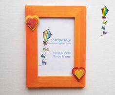 Wooden Picture Frame  Tangerine Heart by StripyKite on Etsy, £6.00