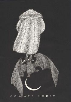 Man in Fur Coat Bat Moon Edward Gorey Mini Poster 1979