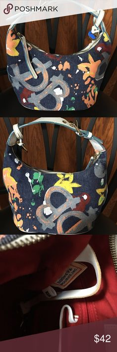 Dooney & Bourke Bucket Handbag Adjustable leather handle, denim with paint splash, authentic, #k5303383, key toggle, phone slot, zipper pocket, excellent used condition Dooney & Bourke Bags Mini Bags