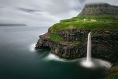 Gásadalur , Faroe Islands , #oneworldtrips  Gásadalur is located on the west-side of Vágar, Faroe Islands, and enjoys a panoramic view over the island of Mykines. Gásadalur waterfall This is one of the most beautiful waterfalls on the Faroe Islands, called Gásadalur.   http://www.oneworldtrips.com/.
