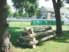Logs stacked as a horse jump