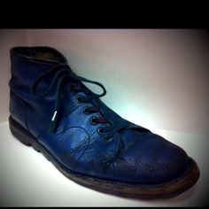 'MONKEY BOOTS' vintage Czech Republic Army Surplus boots in navy blue, antiqued with black shoe polish, rubbed into the creases.