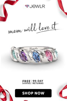 Perfect Gift for Mom Personalize a Mother's Ring with all the birthstones of her loved ones engraved with names. Mom will love it – guarantee. Presents For Mom, Gifts For Mom, Mothers Day Advertising, Mothers Day Spa, Mom Jewelry, Jewlery, Mother Rings, Christmas Mom, Personalized Rings