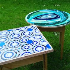 2 Stained Glass Mosaic Tables