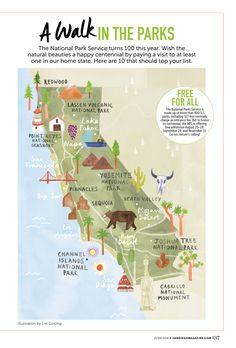 Livi Gosling - Map of California National Parks Where Is Yosemite, Yosemite California, California Camping, California Dreamin', Northern California, Yosemite National Park Map, National Parks Map, California National Parks, Road Trip Usa