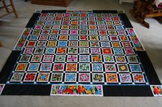 Full size Four Patch Posy Quilt  Black borders by FizzPopQuilts