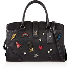 Coach Embellished Mercer 30 Satchel (£495) ❤ liked on Polyvore featuring bags, handbags, black, satchel handbags, coach purses, tote handbags, leather purses and leather tote handbags
